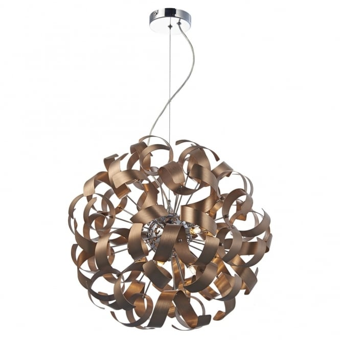 Dar Lighting Rawley 9lt Pendant in Satin Copper