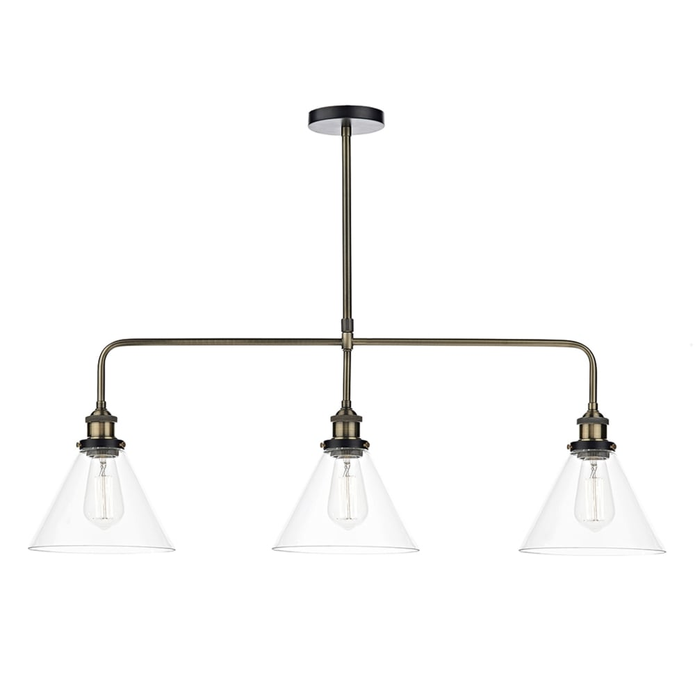 Dar lighting ray 3 light pendant bar in antique brass fitting type ray 3 light pendant bar in antique brass mozeypictures Gallery