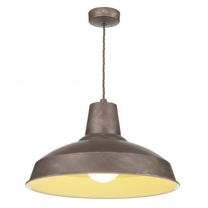 Dar Lighting Reclamation Weathered Bronze Pendant Light