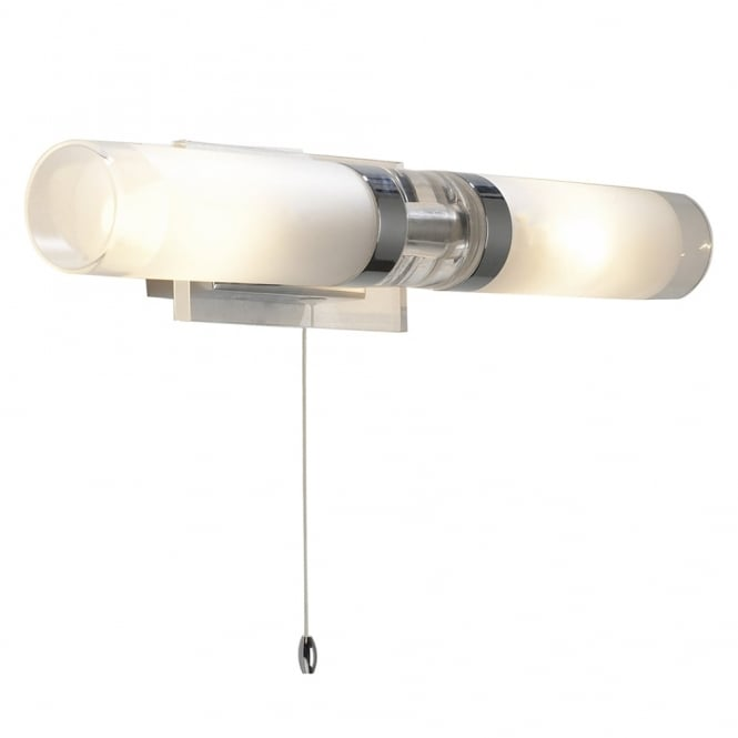 Dar Lighting Reflex IP44 Double Wall Light in Polished Chrome