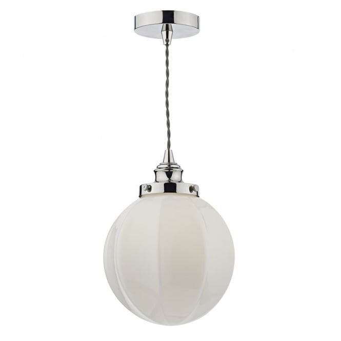 Dar Lighting Rib Gloss White Opal Glass and Polished Nickel Pendant