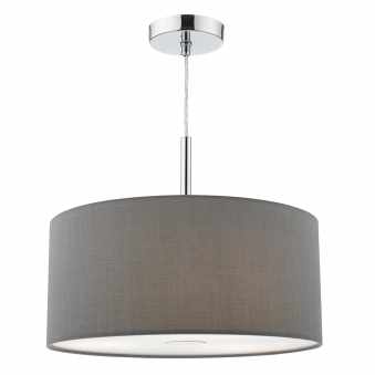 Ronda Three Light Faux Silk Pendant in Slate Grey