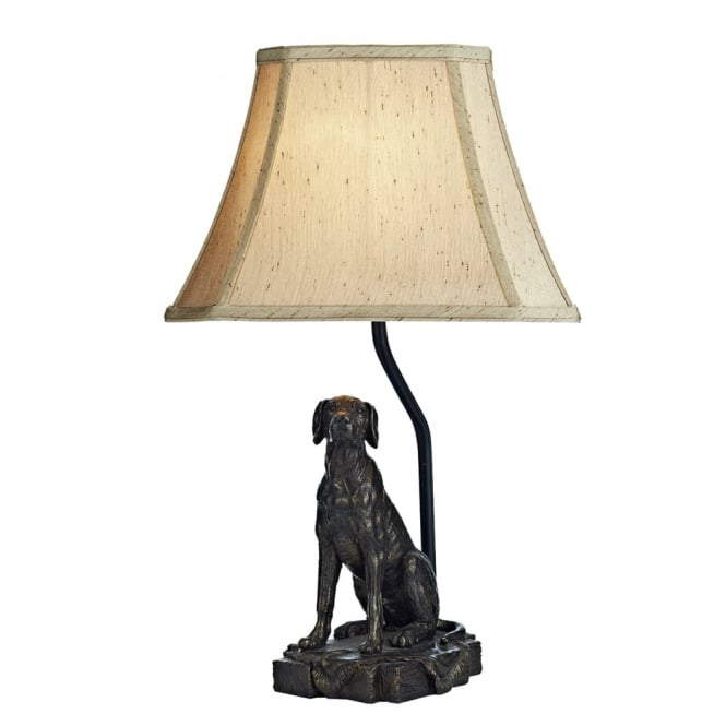 Dar Lighting Rover Dog Table Lamp with Gold Faux Silk Textured Shade
