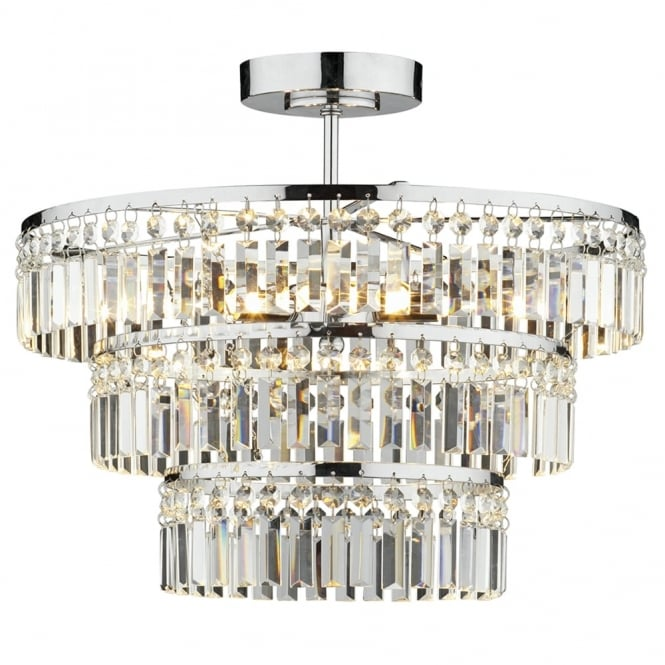 Dar Lighting Rowena Triple Light Semi Flush with Crystal Glass