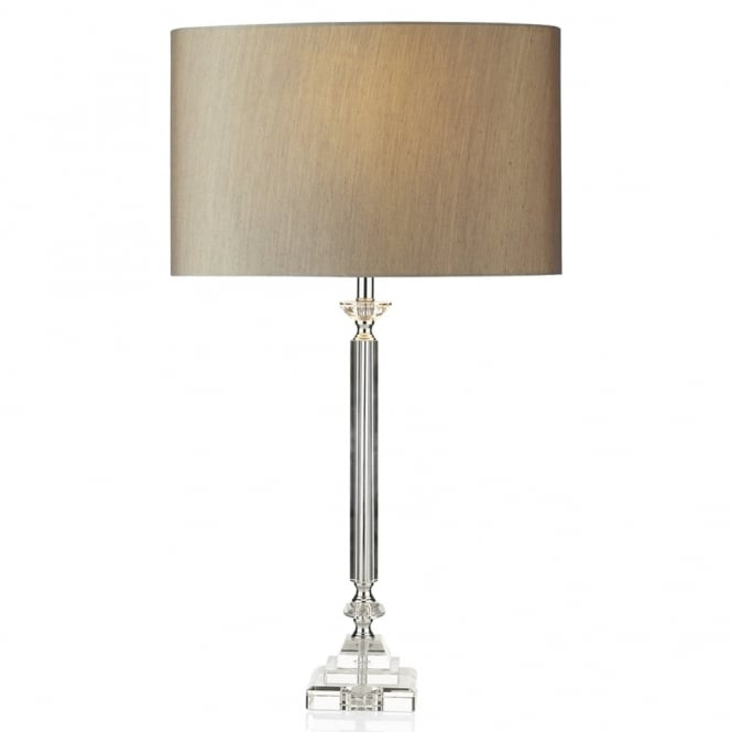 Dar Lighting Sahara Table Lamp with Taupe Faux Silk Shade