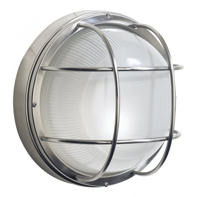 Dar Lighting Salcombe Round Exterior Wall Light in Stainless Steel