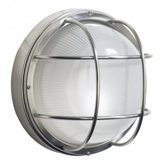 Salcombe Round Exterior Wall Light in Stainless Steel