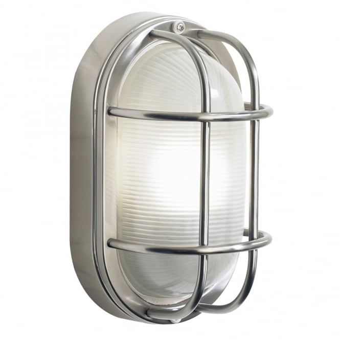 Dar Lighting Salcombe Small Oval Exterior Wall Light in Stainless Steel