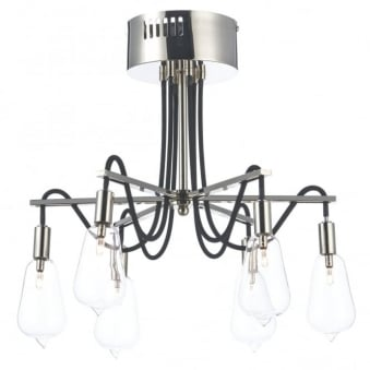 Scroll Six Arm Polished Nickel Ceiling Light