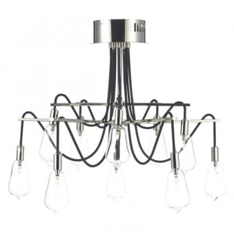 Scroll Ten Arm Polished Nickel Ceiling Light
