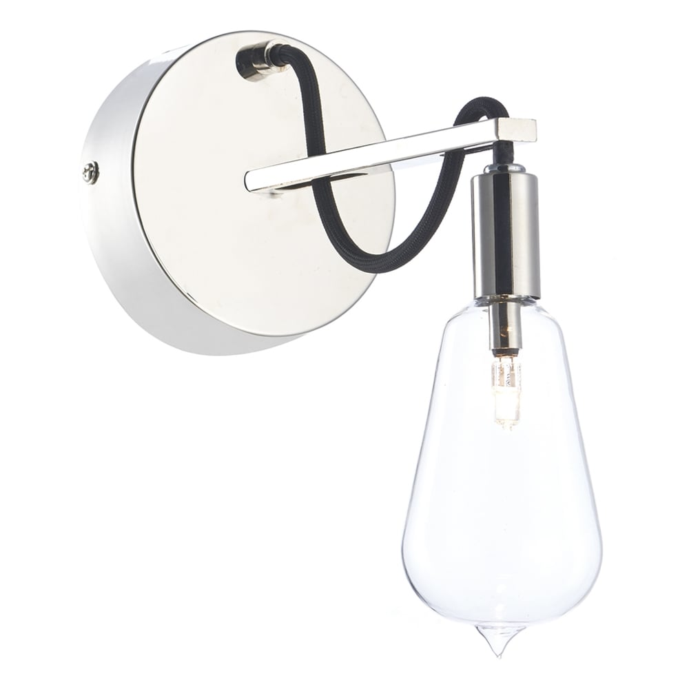 dar lighting scroll wall light in polished nickel and black braided