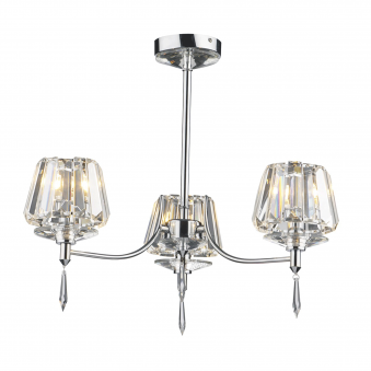 Selina 3 Light Semi Flush in Crystal and Polished Chrome