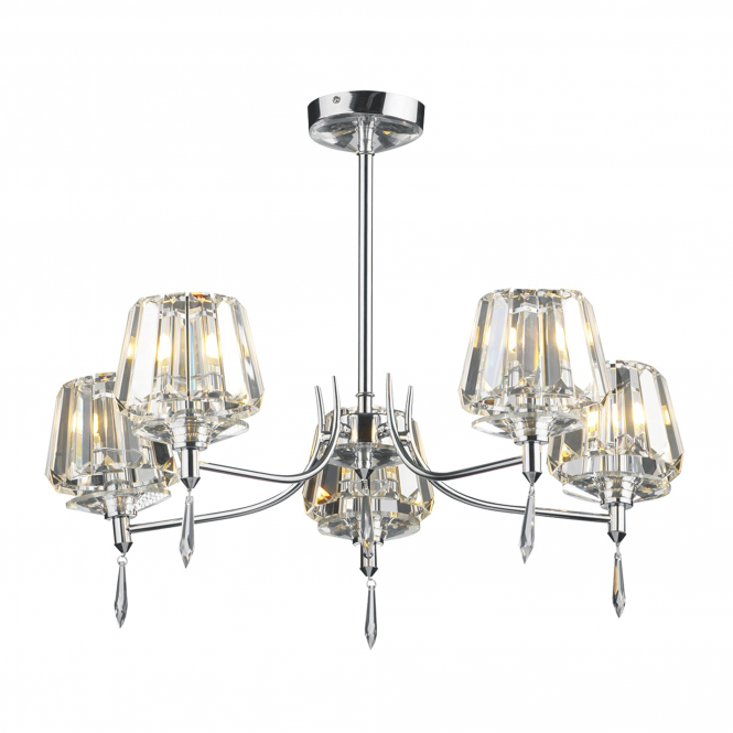 Dar Lighting Selina 5 Light Semi Flush in Crystal and Polished Chrome