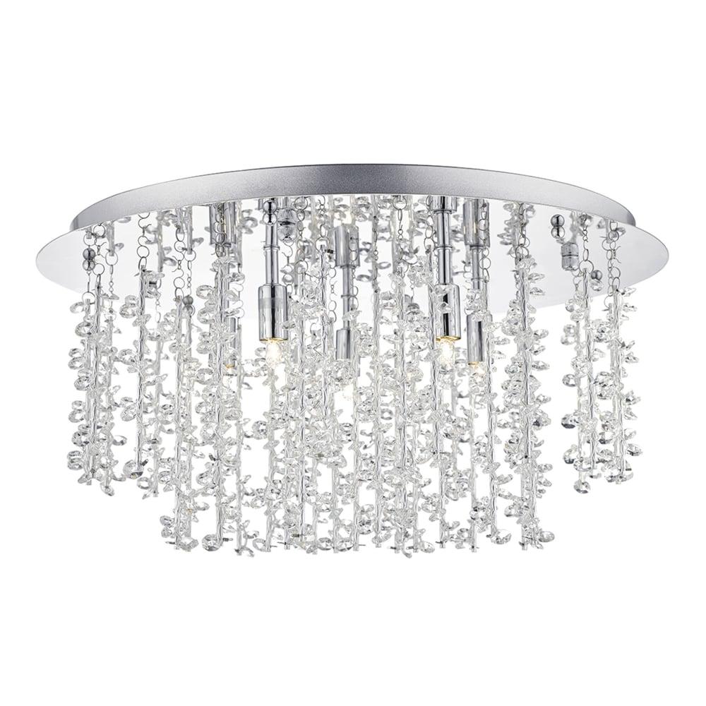 Sestina Five Light Ceiling Flush In Crystal Glass