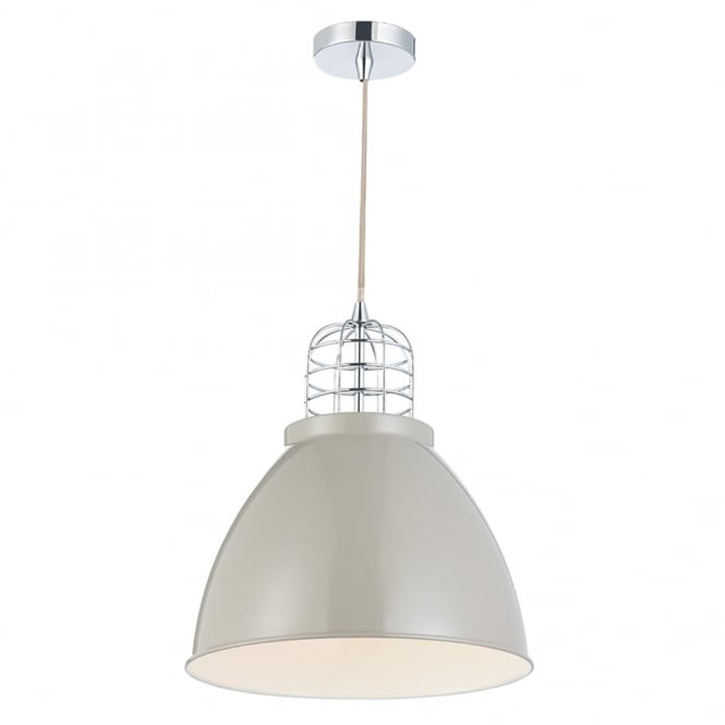 Dar Lighting Seymour Single Pendant in Putty and Chrome
