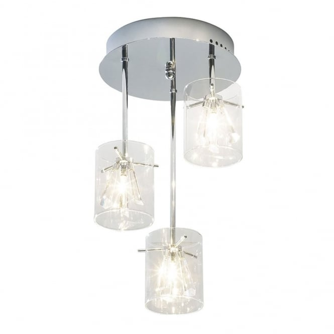 Dar Lighting Somerset 3 Light Semi Flush with Glass Shades and Crystal Drops