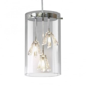 Somerset Triple Light Pendant with Glass Shades and Crystal Drops