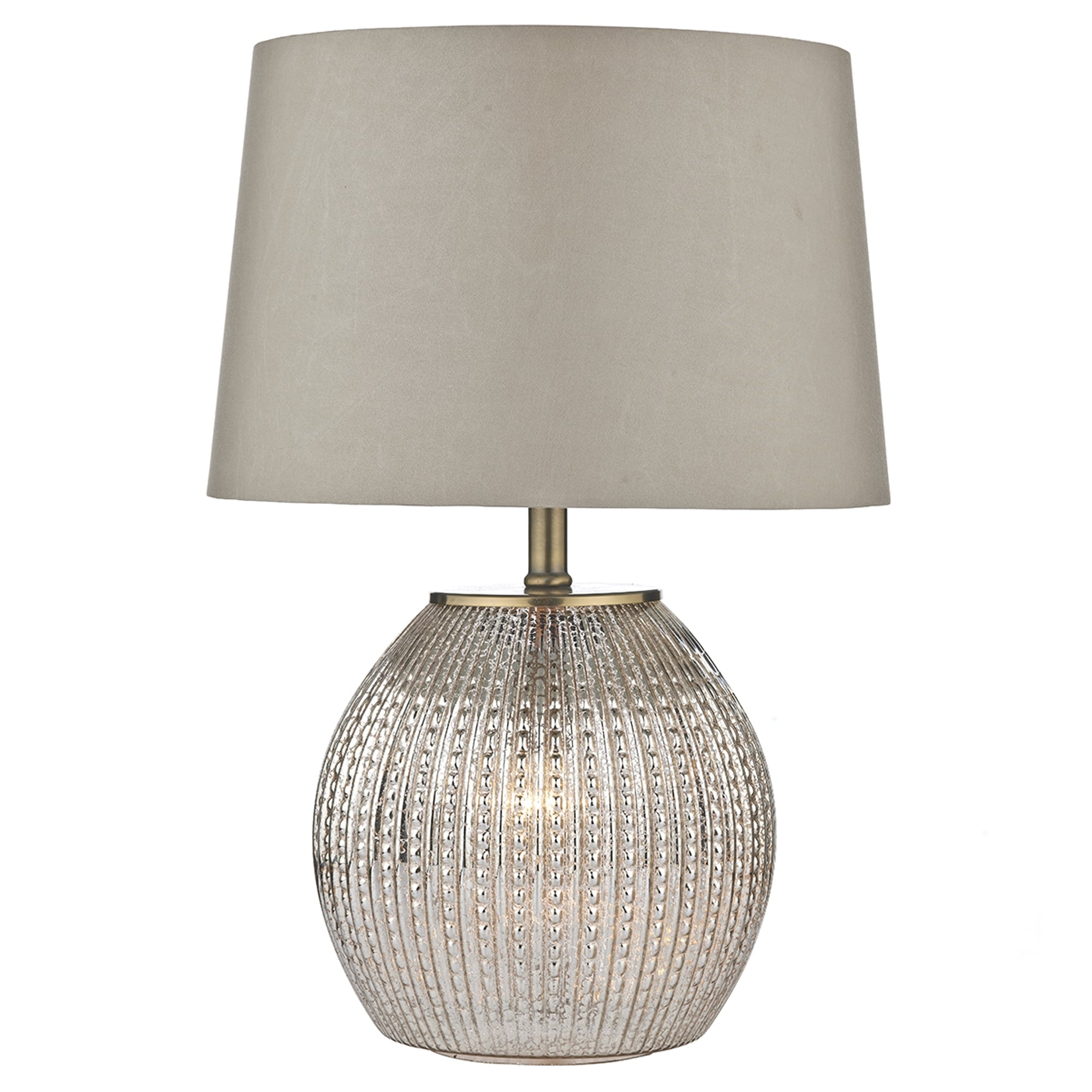 Dar Lighting Sonia Table Lamp with Illuminated Antique Silver Glass Base