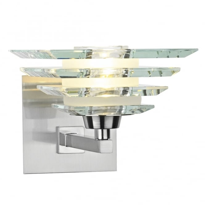 Dar Lighting Stirling Wall Light with Bevelled Edge Glass