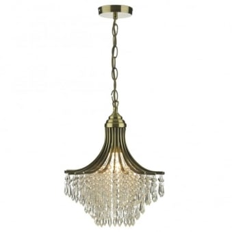 Suri Single Light Pendant in Antique Brass with Glass Droppers