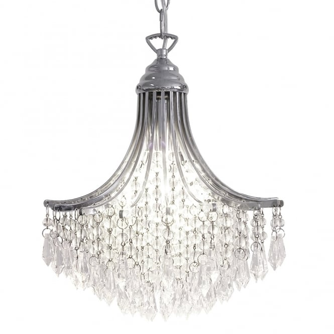 Dar Lighting Suri Single Light Pendant in Polished Chrome with Glass Droppers
