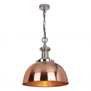 Sylvie Polished Copper and Nickel Pendant Light