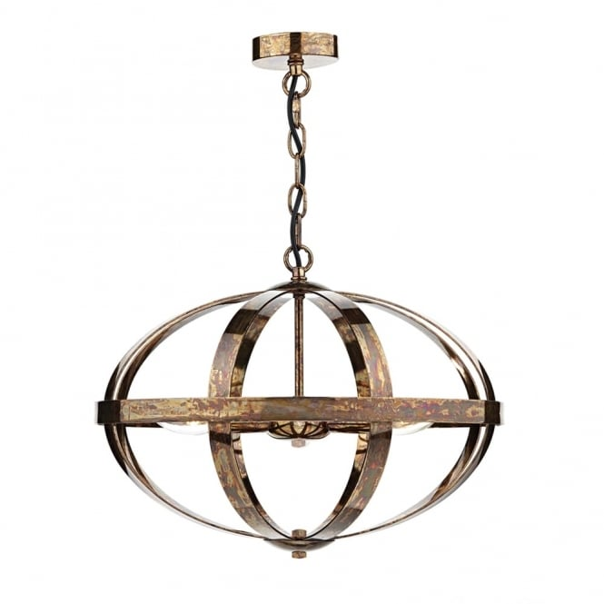 Dar Lighting Symbol Triple Light Pendant in a Dappled Copper Finish