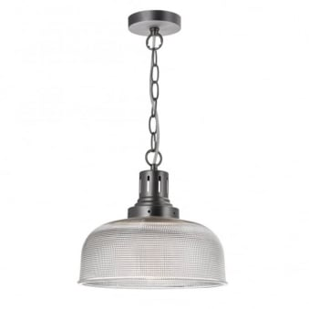 Tack Pendant in Matt Nickel and Grid Pattern Ribbed Glass