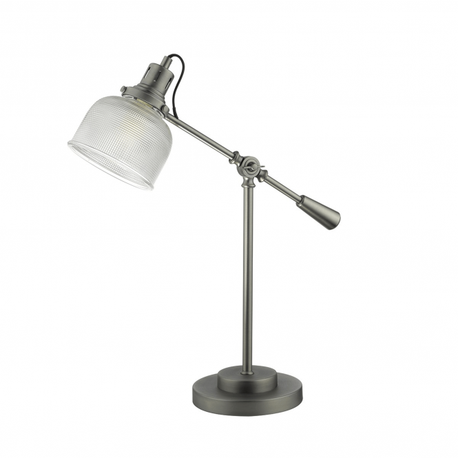 Dar Lighting Tack Table Lamp in Industrial Nickel