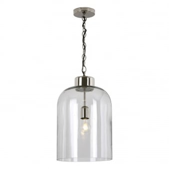 Tala Polished Nickel and Seeded Glass Pendant