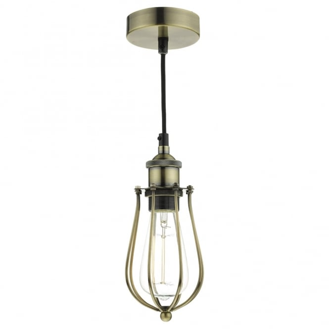 Dar Lighting Taurus Industrial Style Pendant in Antique Brass