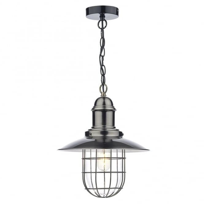 Dar Lighting Terrace Single Pendant in Antique Chrome