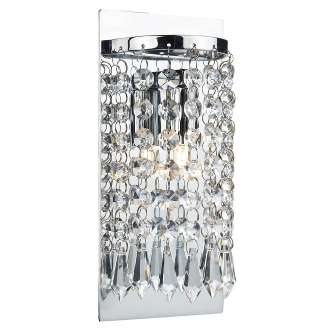 Dar Lighting Tiara Wall Light with Crystal Glass Beads and Droppers