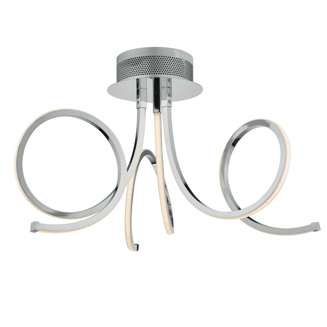 Dar Lighting Tiro LED Semi Flush Fitting in Polished Chrome
