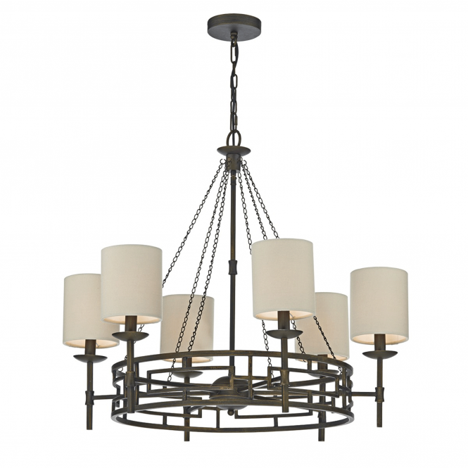 Dar Lighting Todd Six Light Bronze Chandelier with Taupe Shades