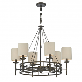 Todd Six Light Bronze Chandelier with Taupe Shades