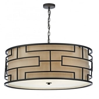 Tumola Four Light Pendant in Matt Bronze with Taupe Linen Shade