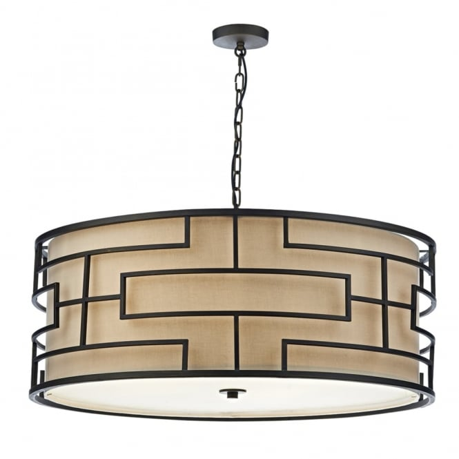 Dar Lighting Tumola Six Light Pendant in Matt Bronze with Taupe Linen Shade