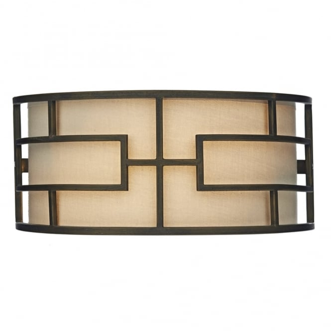 Dar Lighting Tumola Wall Light in Matt Bronze with Taupe Linen Shade
