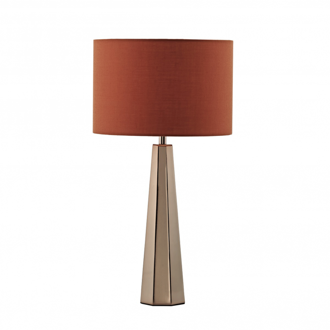 Dar Lighting Ultra Table Lamp in Copper with Orange Linen Shade