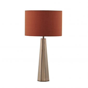 Ultra Table Lamp in Copper with Orange Linen Shade