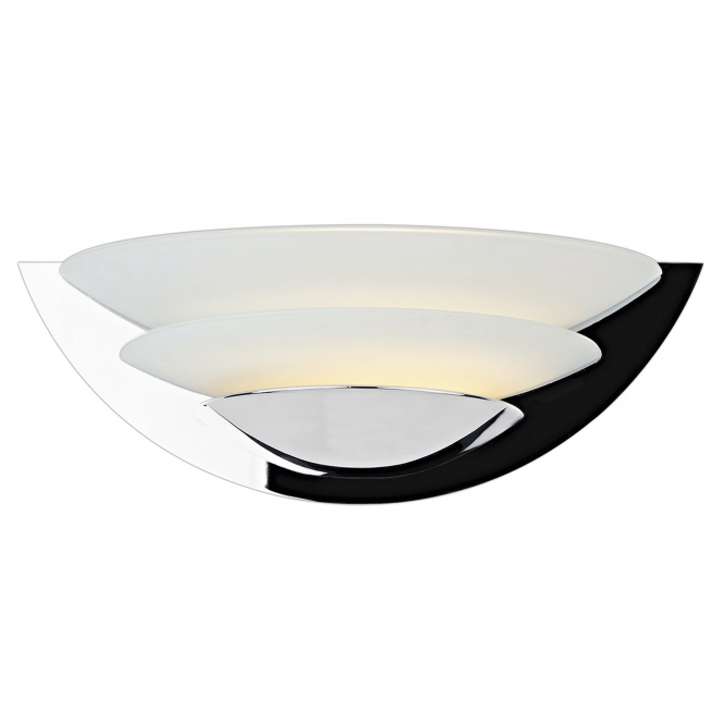 Dar Lighting Una Wall Light in Polished Chrome and Opal Glass