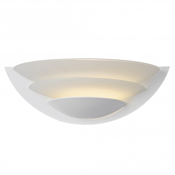 Dar Lighting Una Wall Light in White and Opal Glass