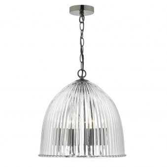 Usher Three Light Ribbed Glass Pendant