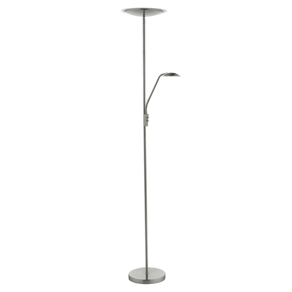 Dar UTA4946 Utah LED Mother and Child Floor Lamp in Satin Nickel