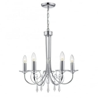 Varina 5 Light Pendant with Crystal Glass Droppers