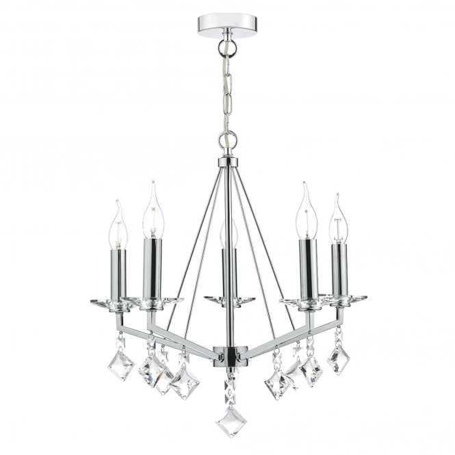 Dar Lighting Vevey Five Light Pendant in Crystal and Polished Chrome