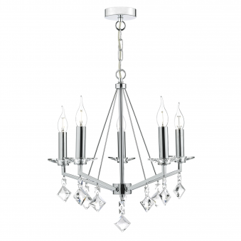 Vevey Five Light Pendant in Crystal and Polished Chrome