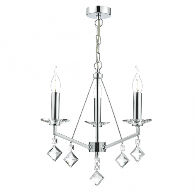 Dar Lighting Vevey Three Light Pendant in Crystal and Polished Chrome