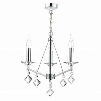 Vevey Three Light Pendant in Crystal and Polished Chrome